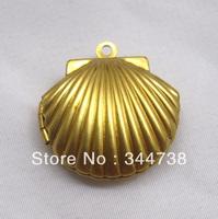 Golden Shell Locket Pendant Raw Brass Charm for Necklace Treasure 10pcs/lot