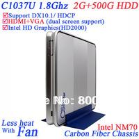2014 Hotel mini pcs with Intel Celeron 1037U dual core 1.8Ghz windows linux 2G RAM 500G HDD HD Graphics L3 2MB Thin Station PC