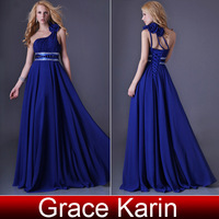 Women Sexy long One shoulder Party Gown Blue Chiffon Beaded Prom Ball Evening Dress  8 Size CL3516