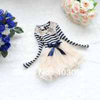 2014 spring paillette lace collar stripe long-sleeve dress lovely cake dress girl tutu dress 31001