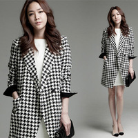 2013 Autumn And Winter Women'S Turn-Down Collar Houndstooth Woolen Outerwear Medium-Long Wool Coat Overcoat Female Plus Big Size