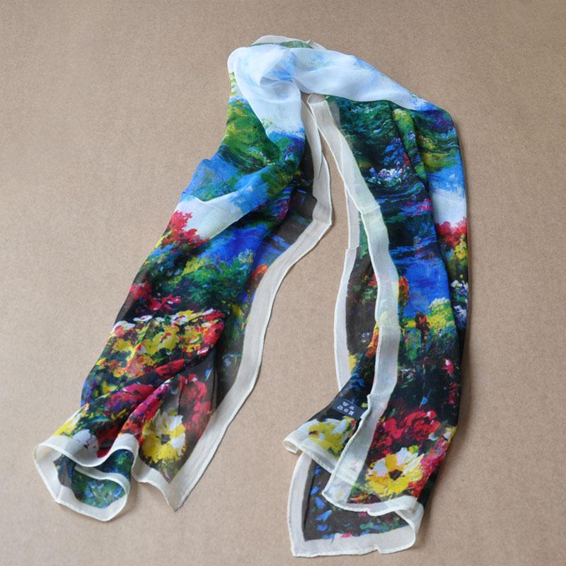 Mulberry silk georgette long design women's silk digital print silk scarf(China (Mainland))