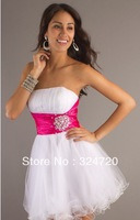 2014 new cheap crystal white and hot pink short tulle prom dress damas dress for sweet 16 party Style SI-p8011 free shipping