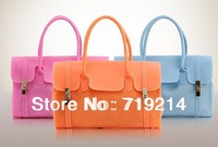 Womens Sweet Jelly Clear transparent Handbag Frosted translucent silicone jelly bag Tote Shoulder Bag 950