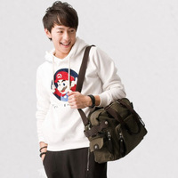 New Mens Korean Casual Canvas Khaki Shoulder Cross Body Bookbag School Bags For Younger Free Shipping
