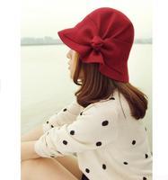 Woolen hat autumn and winter bow billycan elegant women's dome bucket hats millinery
