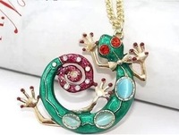 NE603 Green snake natural stone gecko necklace beautiful hot-selling wholesale charms TE-5.99