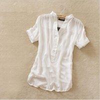 Retail Free shipping new fashion womens summer chiffon shirt silk tops loose blouses shirts for women