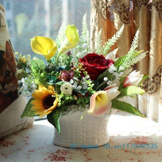 arranjo de flores ikebana dispostos calla artificial levantou-se flor de seda incluem vaso decoração Home FV61(China (Mainland))