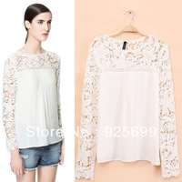 Europe Brand Lace Hollow Out Long Sleeve Blouses Women Summer New Style O Neck Basic Casual Shirt Lady Shirts Tops Free Post
