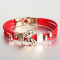 Fashion New Arrived Three-tier Butterfly Shape Female Leather Bracelets Full $6 pack mail