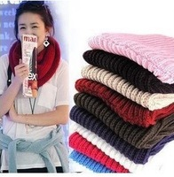 Hot New Wholesale  retail Fashion Women Warm Knit Neck Circle Wool Blend Cowl Snood Long Scarf Shawl Wrap Free Shipping