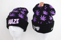New Arrival DOPE Beanies hats HAZE Black with purple leaf most popular winter mens women skullies beanie hat cap Free shipping