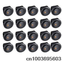 20 pcs Yellow Led Dot Light 12V Car Boat Auto Round Rocker ON/OFF SPST Switch