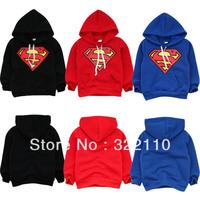 Baby Superman Sweatshirts Hoodies Brand Jackets/Coats Thickening Fleece Children Outerwear Kids Casual costume Drop shipping