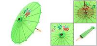"Handy Flower Pattern 20.1"" Dia Foldable Japanese Chinese Umbrella Parasol Green"