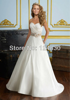 Free shipping New style High-quality Bridal Dress Hand Flowers Satin Sweetheart Strapless Wedding Dresses