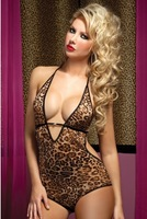 free shipping 1063 leopard appeal jumpsuits wholesale veil six color gauze sexy underwear