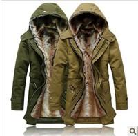 freeshipping winter men wadded jacket warm coat wool hood slim winter jacket for men overcoat men's winter trench long outerwear