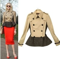 HOT NEW 2013 Women Fashion British Short Double Breasted Dress Trench Coat/High Quality Designer Elegant Trench #25013 M-XXL