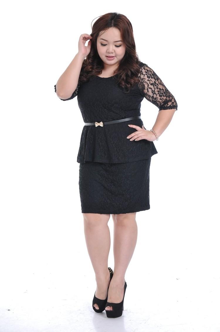 Mulheres gordas tamanho grande saia de renda terno roupas de manga(China (Mainland))