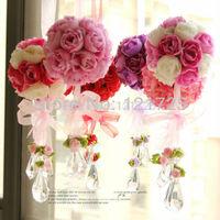Artificial flower rose ball real interlobule decoration silk flower artificial flower 8.5cm diameter 17 colors