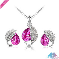 Wholesales Fashion Jewelry 18K Gold Plated Austrian Crystal Trendyl Jewelry Sets with necklace earring for women 4172-2