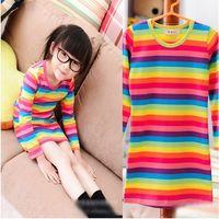 ( 5pcs/lot free shipping) Korean design rainbow striped the girls dress wholesale