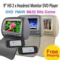 "Pair of 9"" TFT Digital Screen Car Headrest Monitor DVD Game FM IR headphones Speaker SD USB Zip Cover"