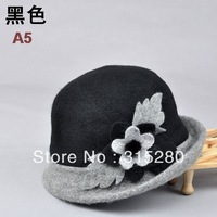 Mother winter party popular flower thicken warm rabbit wool knitted bucket hats