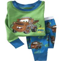 HOT Retail 2014 Baby Boys Pajamas kids clothes Full Sleeves car design children pyjamas 100%cotton Retail 2pcs,kids pyjamas