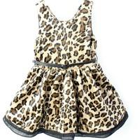 Free Shipping Baby Girls Leopard Cotton Dress Patchwork Belt Princess Dresses girls leopard dress 3 4 5 6 7 8 years