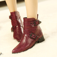2013fashion buckle pointed toe thick heel crocodile skin martin boots luxury winter ankle strap women crocodile motorcycle boot