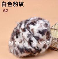 women winter fashion leopard rabbit fur knitting beret hats