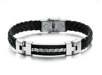 Leastyle JEWELLERY Free shipping Fashion bracelets&bangles for men Personality style leather jewelry titanium steel bracelets