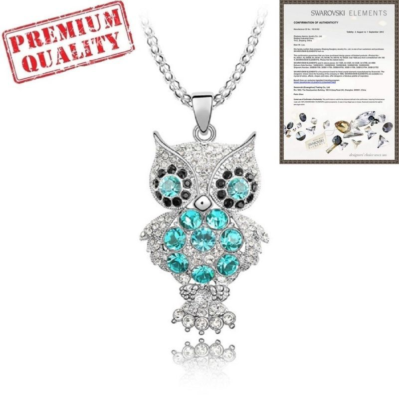 Austrian Crystal Pendent 30'' Length Necklace Owl(China (Mainland))