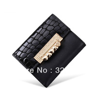 Free Shipping Women's Trendy Short Genuine Leather Wallet Money Bag-Black