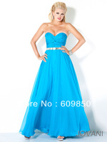 Free Shipping  Strapless  Sequin A-line Blue Long  Evening Dress