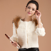 2012 raccoon fur cape hare full leather short slim women's design fur coat fur