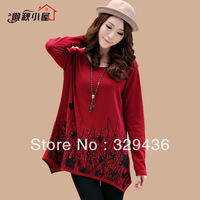 Plus size clothing autumn 200 mm print slim medium-long hip basic shirt t-shirt