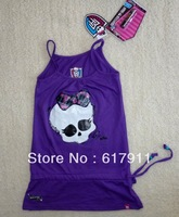 Wholesale kids brand t shirt girls tops girls tshirt summer sleeveless monster high t-shirts for girls Purple