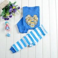 HOT Free Shipping Fashion Baby boy/girls Minions Pajamas suits Kids Cartoon Sleepwear Shirts+pants 6sets/lot Child nightclothes