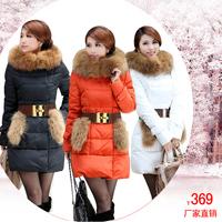 2012 winter new arrival women's large raccoon fur medium-long down coat fur coat yr223