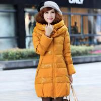 2013 winter medium-long down coat Women double lace turn-down collar down coat