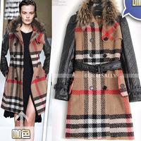 Fashion autumn and winter women ruslana korshunova raccoon fur wool plaid wool coat