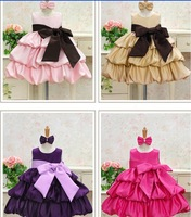 Retail girl dress birthday party princess dress Big bowknot dresses for Christmas red pink purple beige 4 colors