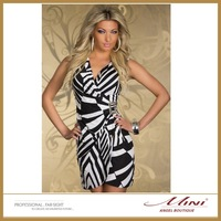 Free Shipping Women Sexy Hot European Style Asymmetric Sexy Dress Zebra-Stripe Deep V Dress