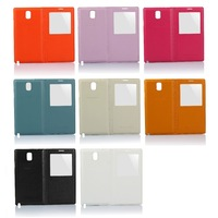 Leather Flip Back Cover Housing Folio Case with Transparent Half Screen View Window for Samsung Galaxy Note 3 III n9000