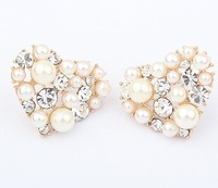 Min. Order $15 (Mix Designs) Free Shipping Factory Outlet Korea Diamante Hearts Boutique Women Stud Earrings,E196