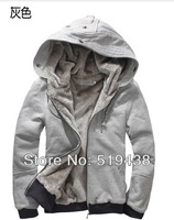 Hot sale!!!2013 fashion brand warm winter jacket men,berber fleece lining coats men.zipper fly sports casual hoodies